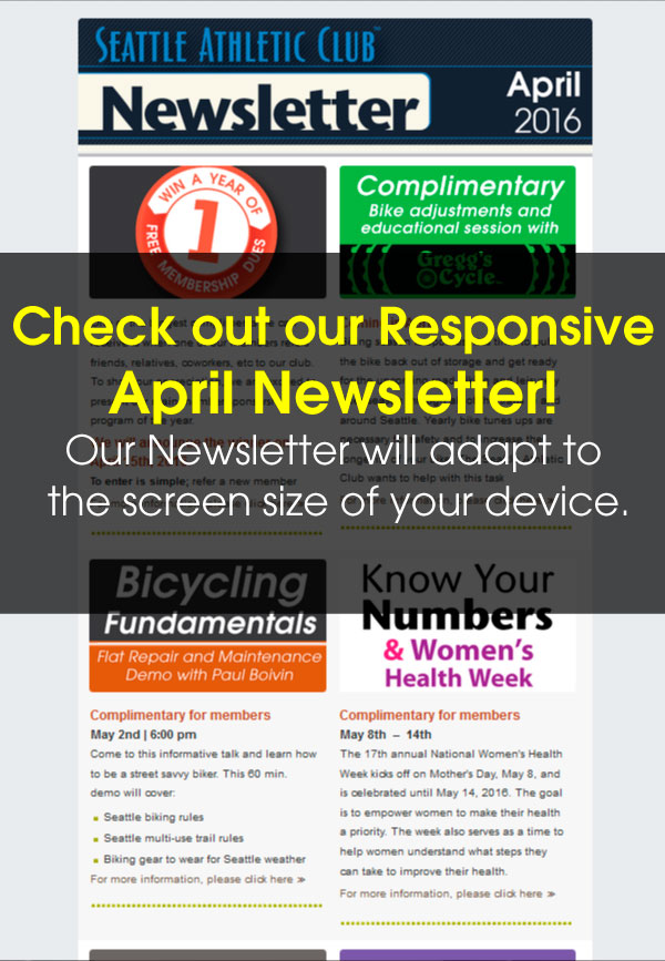 Seattle Athletic Club Downtown - April 2016 Newsletter