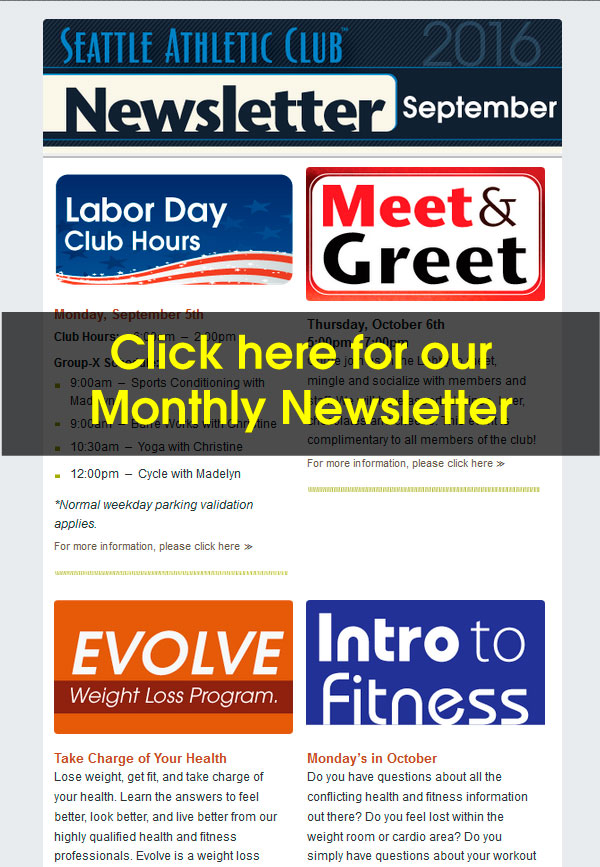 Seattle Athletic Club Downtown - September 2016 Newsletter