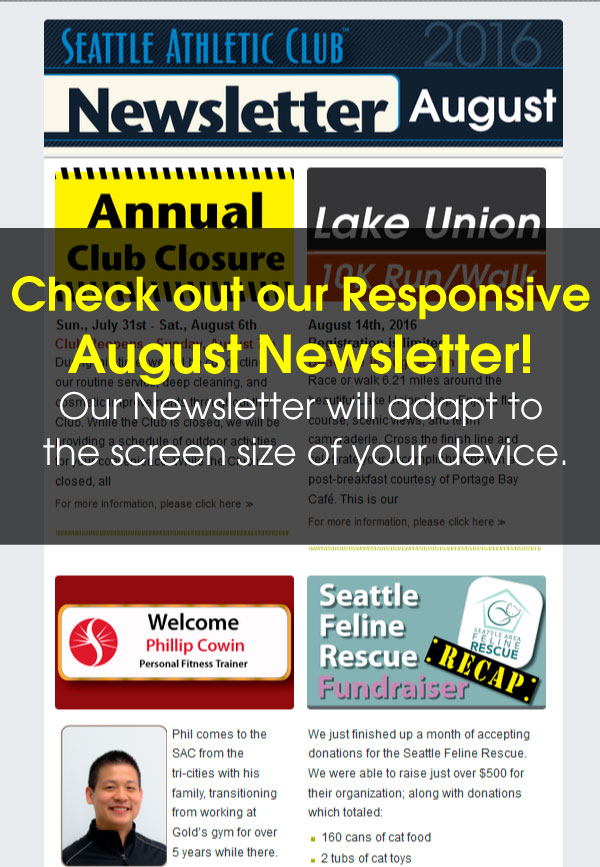 Seattle Athletic Club Downtown - August 2016 Newsletter